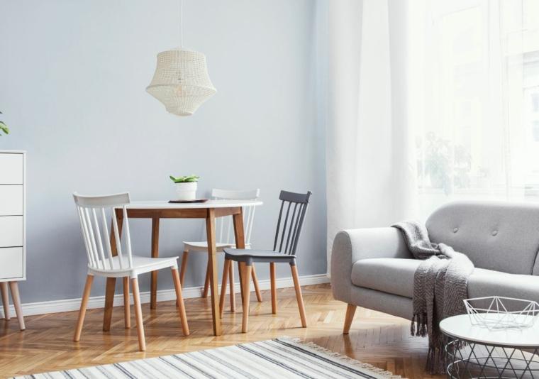 arredare salotto e sala da pranzo insieme tavolo rotondo con sedie divano in tessuto grigio