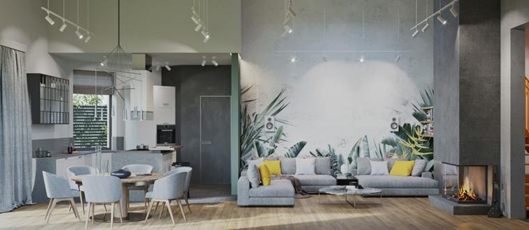 Pareti colorate soggiorno esempi, open space con cucina e sala da pranzo