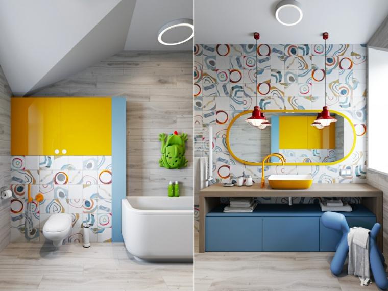 Bagno per i bambini, piastrelle colorate, lavabo da appoggio giallo, mobile bagno di legno