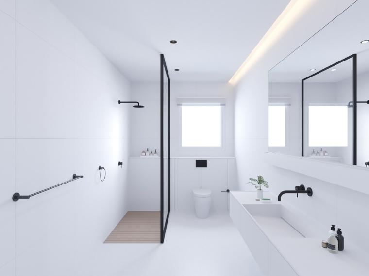 Mobile bagno salvaspazio, mobile lavabo colore bianco, doccia con parete di vetro