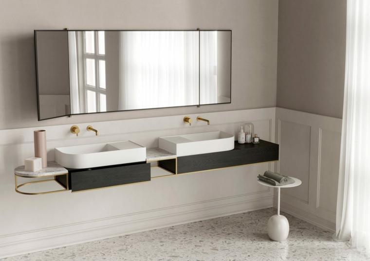 Mobile per lavabo da appoggio, bagno con pavimento di marmo, specchio grande da bagno