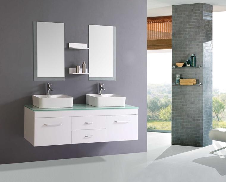 arredo bagno moderno bianco grigio lavabi appoggio