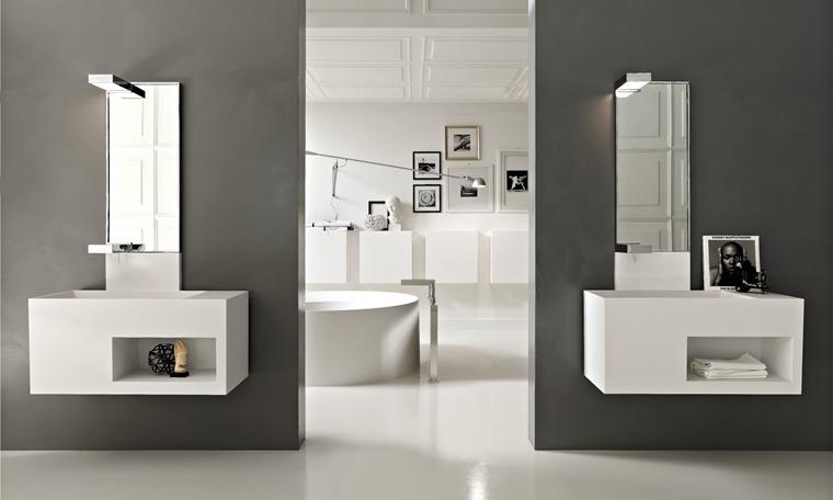 arredo bagno moderno grigio bianco