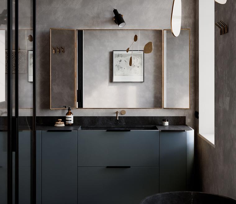 Bagni moderni grigi, mobile bagno con lavabo da incasso, bagno con box doccia