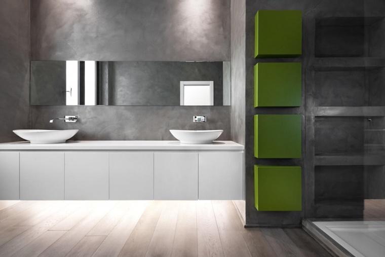 arredo bagno moderno minimal design inserti colore verde
