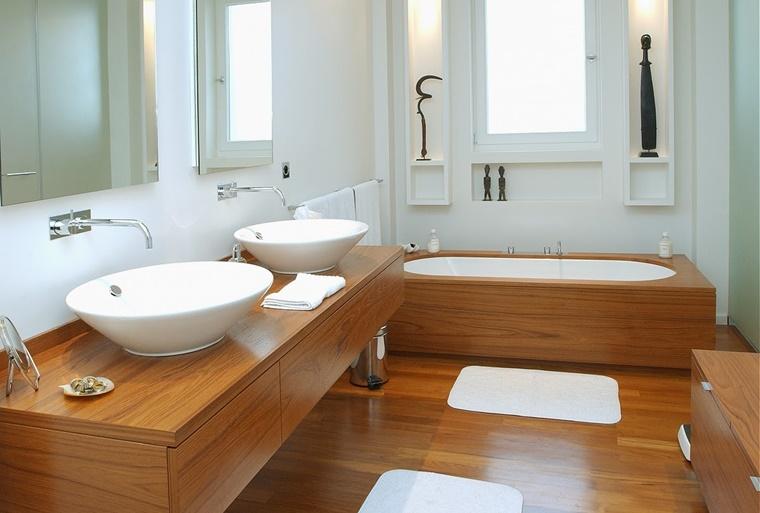 arredo bagno moderno minimalista completamente legno
