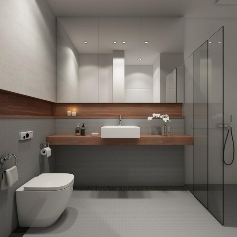 Mobile lavabo da appoggio, sala da bagno con box doccia, pavimento con piastrelle grigie