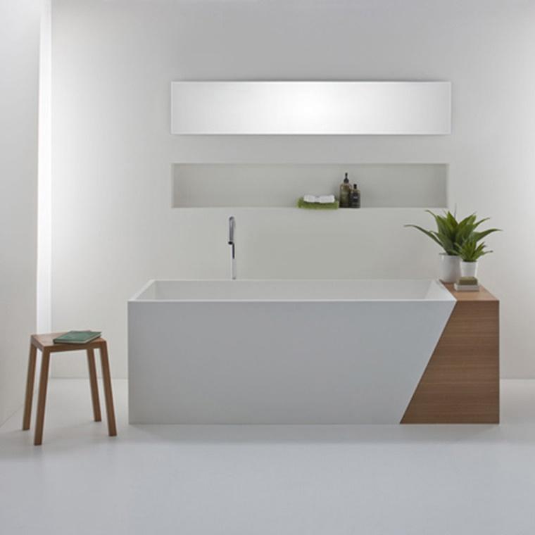 arredo bagno moderno stile minimal inserti legno