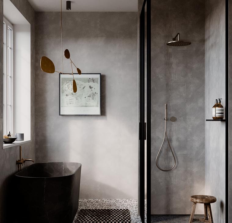 Bagni lussuosi, bagno con box doccia, vasca di colore nero con angoli arrotondati