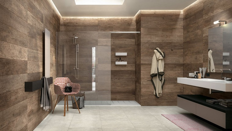 arredo bagno stile vintage pareti legno