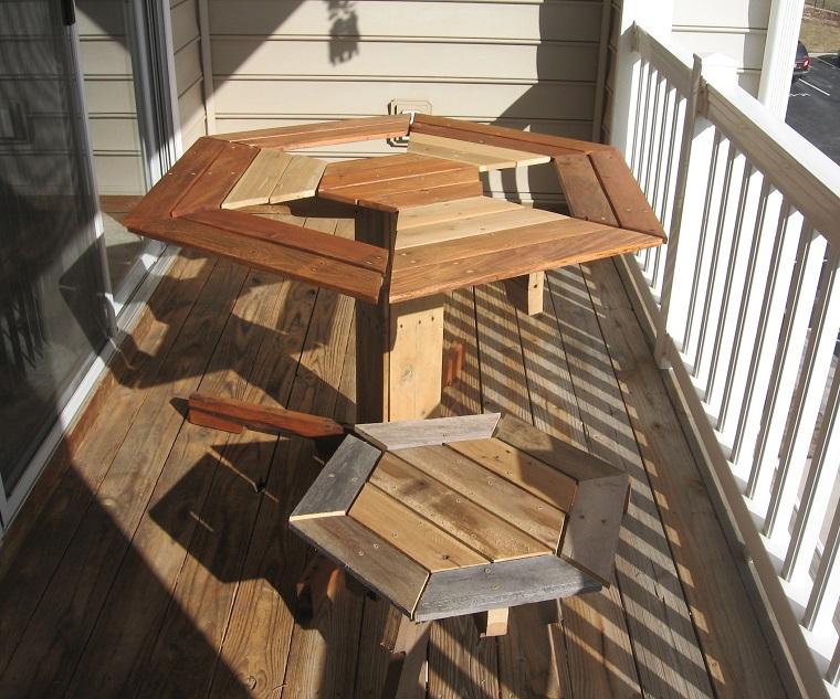 arredo con i pallet tavoli esagonali