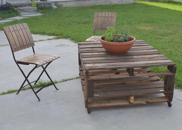 arredo pallet tavolo sedie idea outdoor