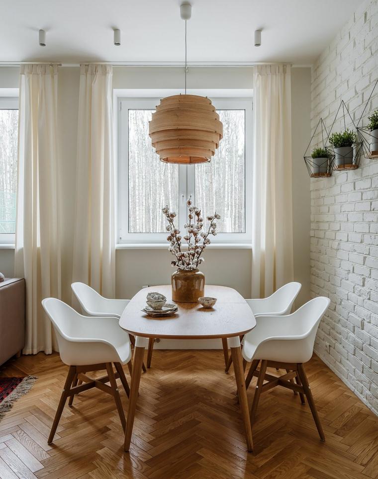 arredo stile nordico parete bianca effetto mattoni arredare piccolo soggiorno pranzo