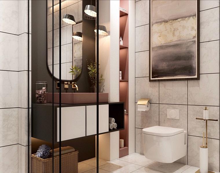 Arredo bagno moderno, piastrelle bagno bianco sporco, mobile con lavabo da appoggio