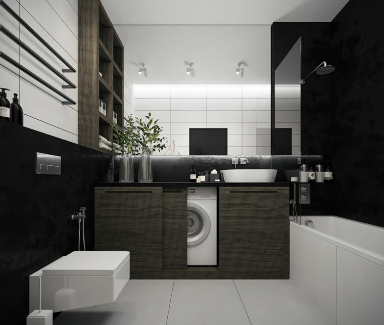 Arredo bagno con sanitari in porcellana, mobile lavabo da appoggio, arredamento moderno per il bagno
