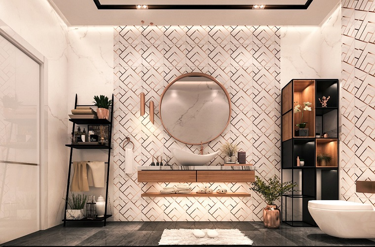 Bagni lussuosi, rivestimento bagno con piastrelle, arredo con mobili in legno dipinti di nero