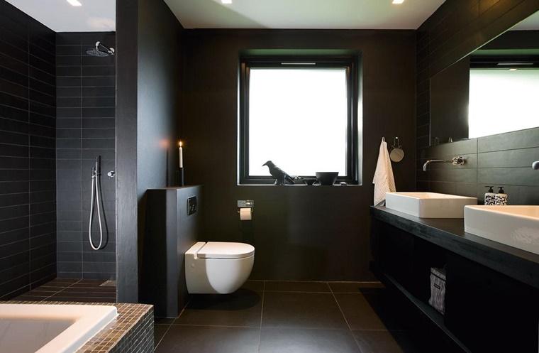 bagno bianco e nero design moderno elegante