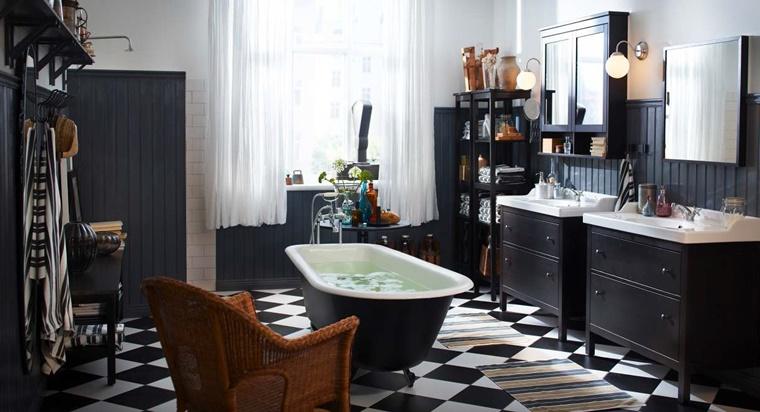 bagno bianco e nero design moderno