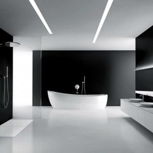 1001 idee per il bagno senza piastrelle molto creative - Bagno bianco e nero ...