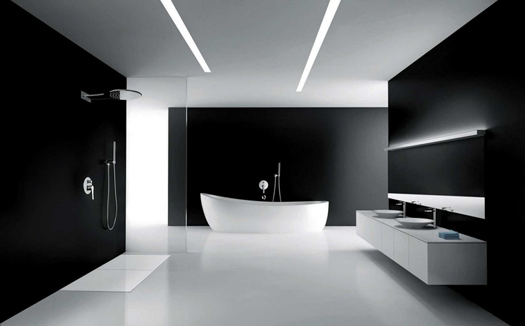 bagno bianco e nero idea originale ambiente grande