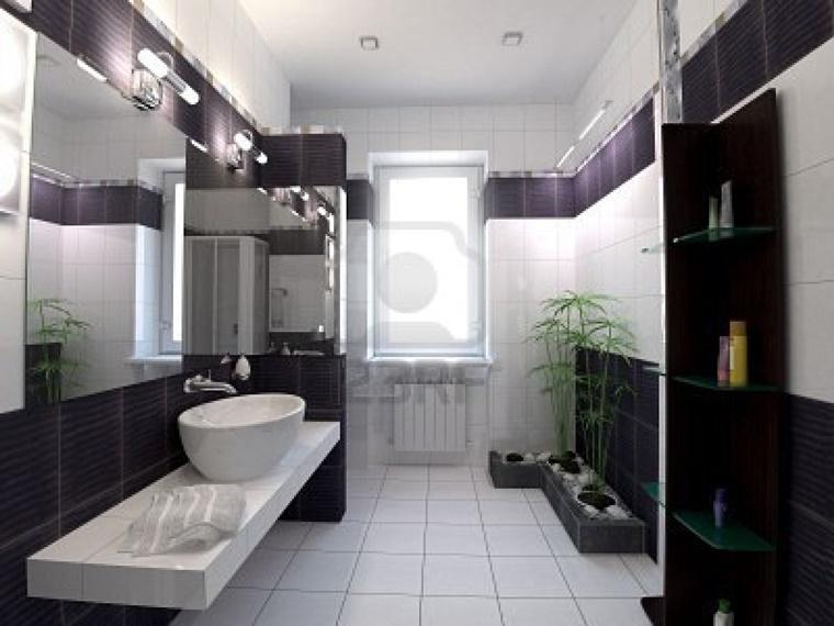 bagno bianco e nero interior design moderno