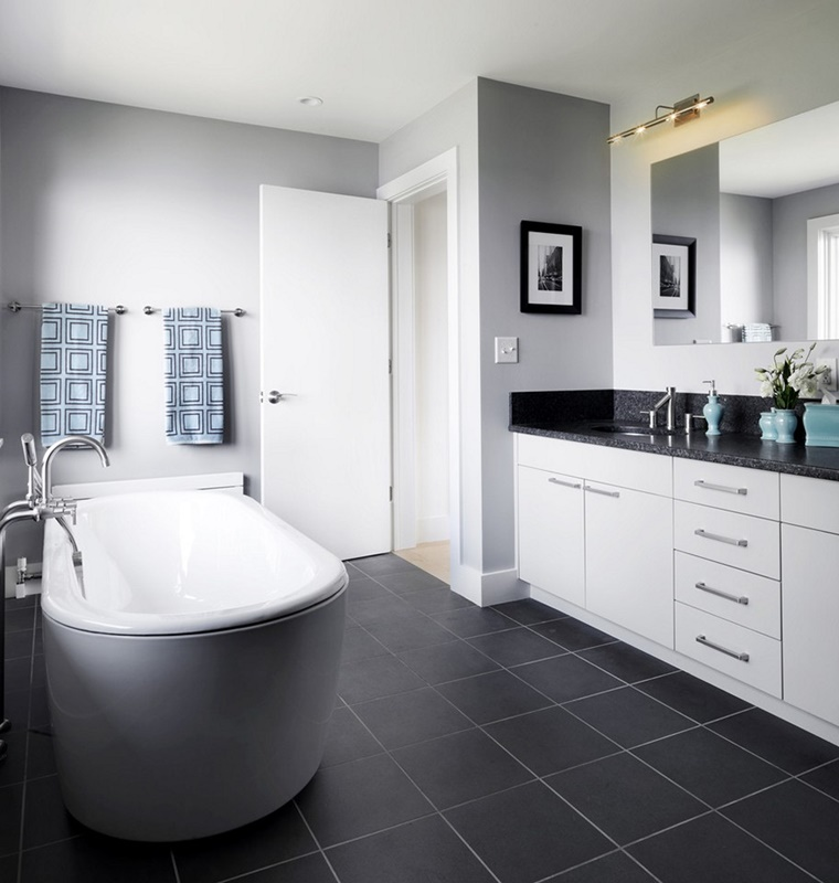 bagno bianco e nero vasca mobile moderno