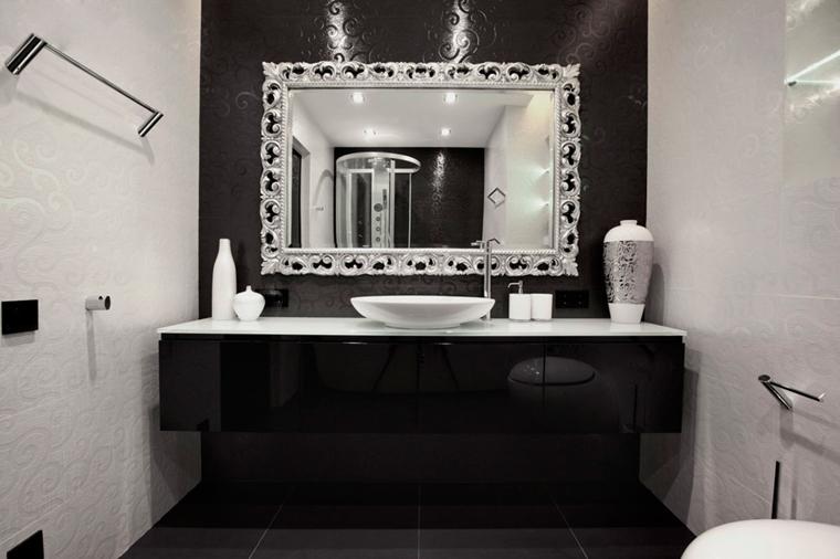 bagno bianco nero specchio cornice lusso