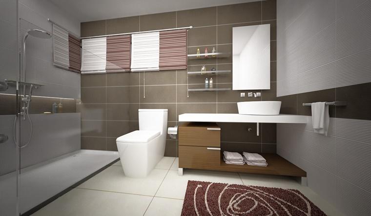 bagno box doccia spazioso tappeto viola