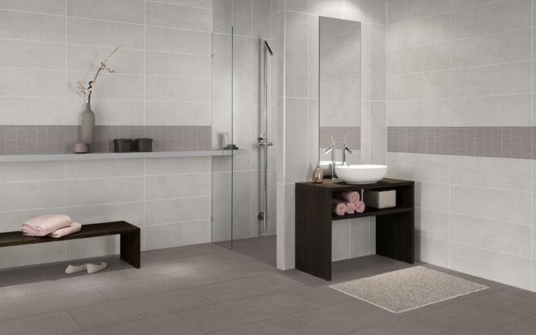 bagno doccia panca mobile legno scuro