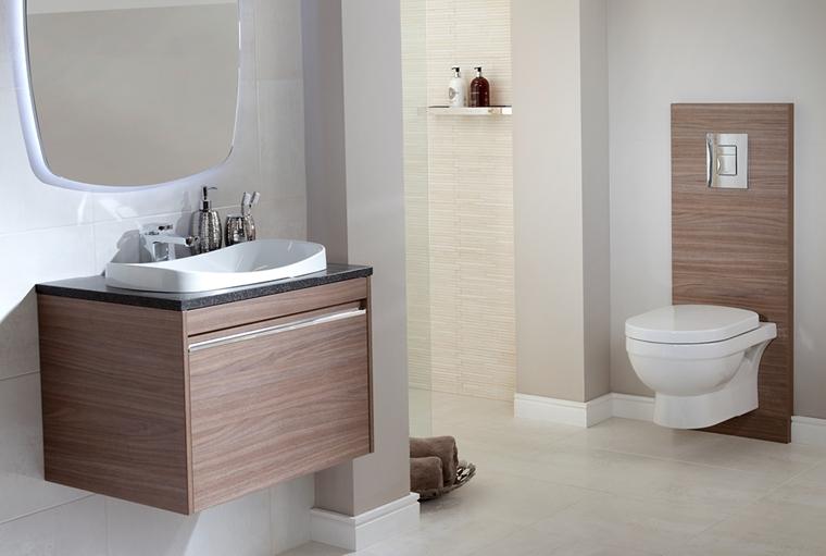 bagno moderno lavabo appoggio accenti legno