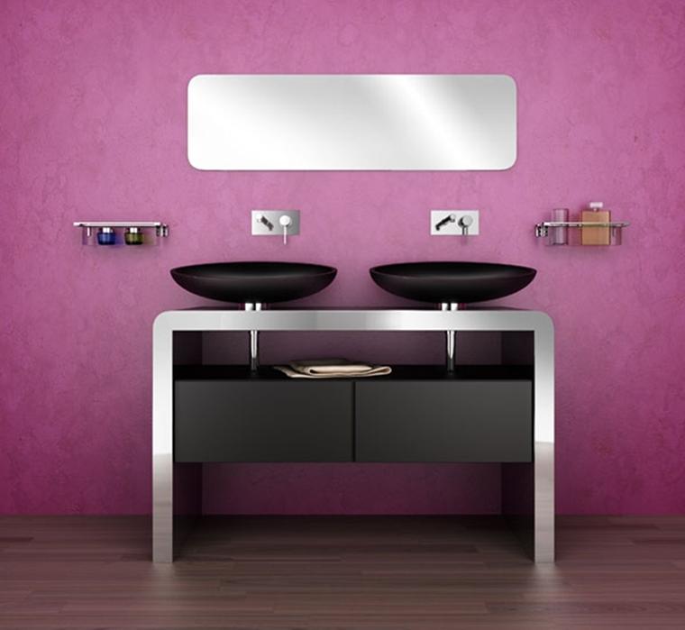 bagno moderno pareti lillà parquet accenti metallo