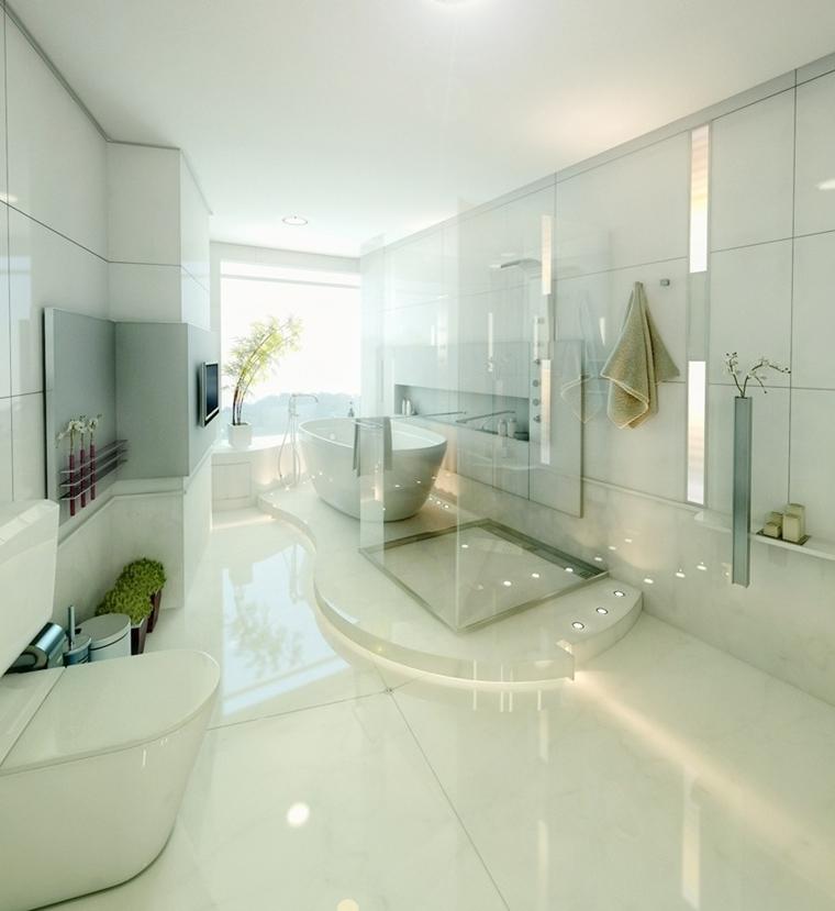 bagno moderno stile minimalista luce led