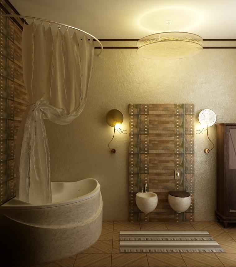 bagno moderno stile rustico illuminazione soffusa