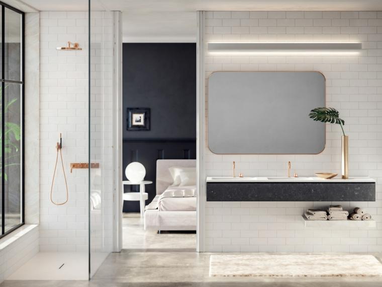Camera da letto con bagno padronale, sala da bagno con box doccia, piastrelle bianche da bagno