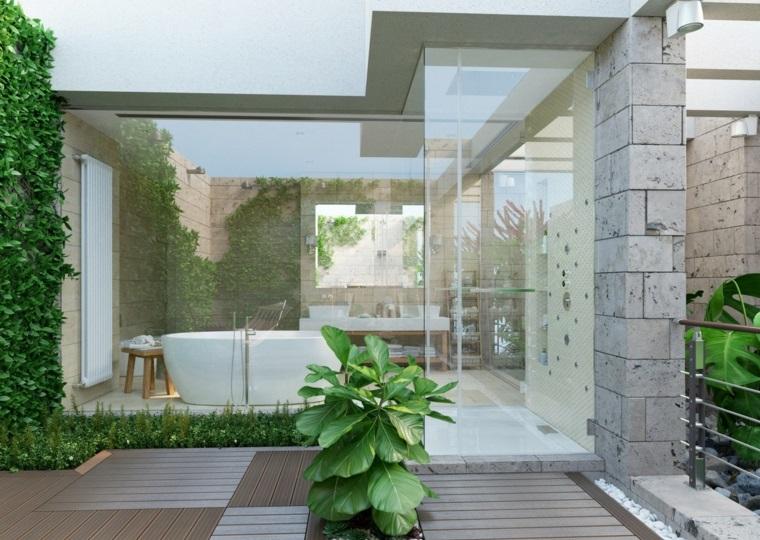 Mobile bagno doppio lavabo, bagno con pareti in vetro, sala da bagno con vasca