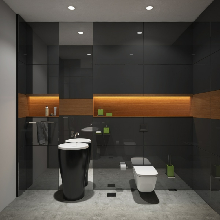 Mobili bagno moderni economici, lavabo colonna colore nero, parete con piastrelle lucide