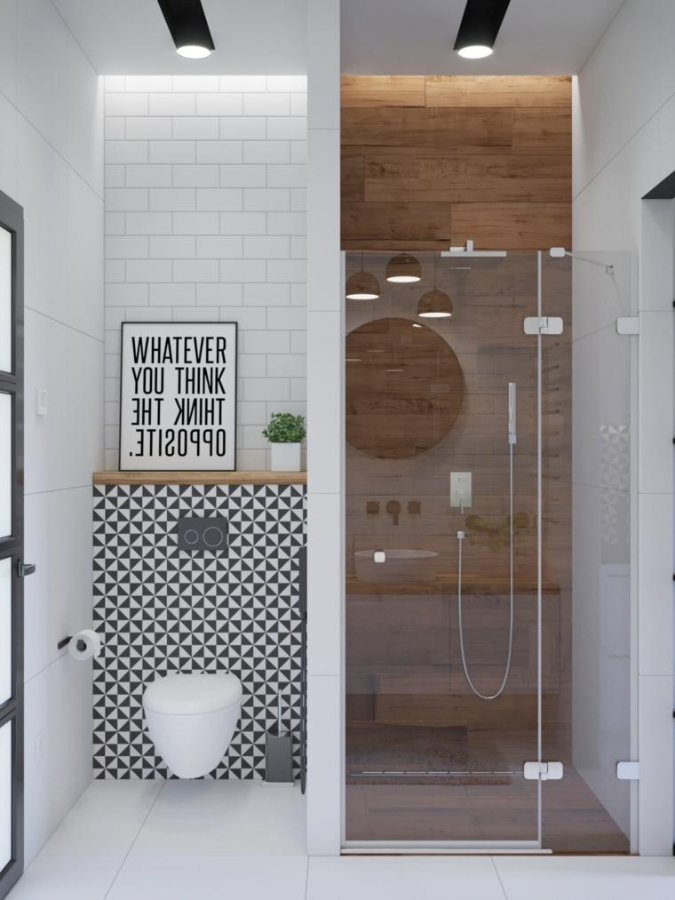 Arredo bagno moderno, sala da bagno con box doccia, rivestimento parete con piastrelle bianche