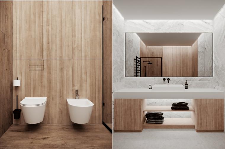 Rivestimento pareti di legno, mobile bagno con lavabo appoggio, specchio rettangolare con retro illuminazione