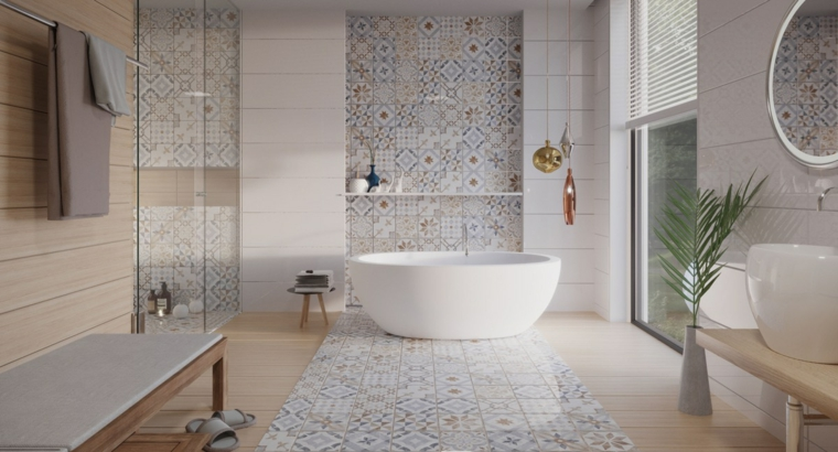 Sala da bagno con box doccia e vasca, piastrelle bagni moderni, mobile con lavabo da appoggio