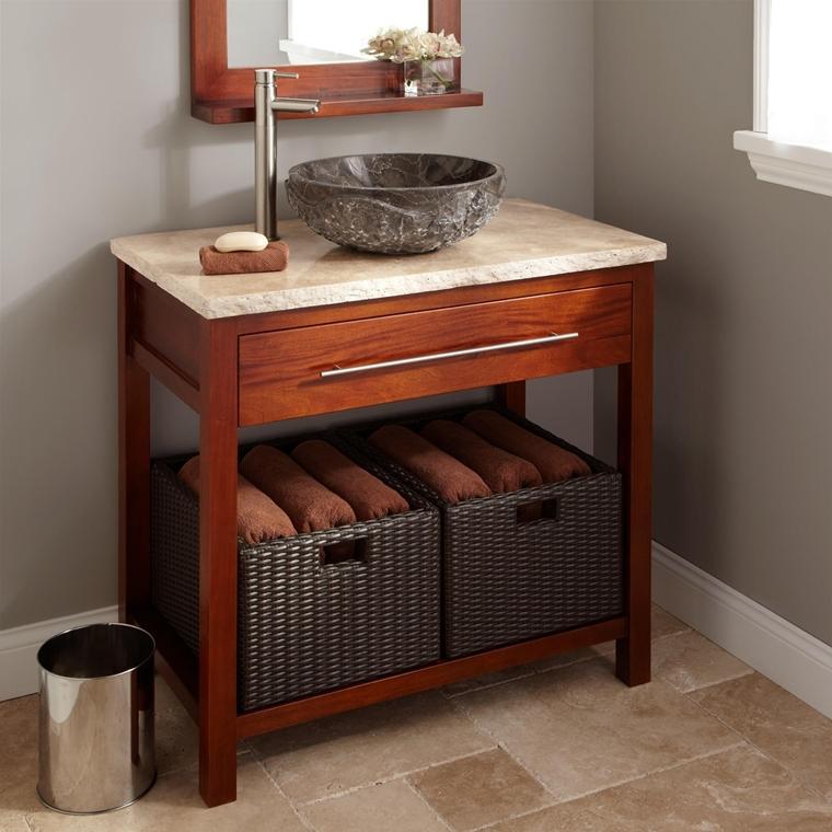 bagno rustico lavabo appoggio cestini asciugamani