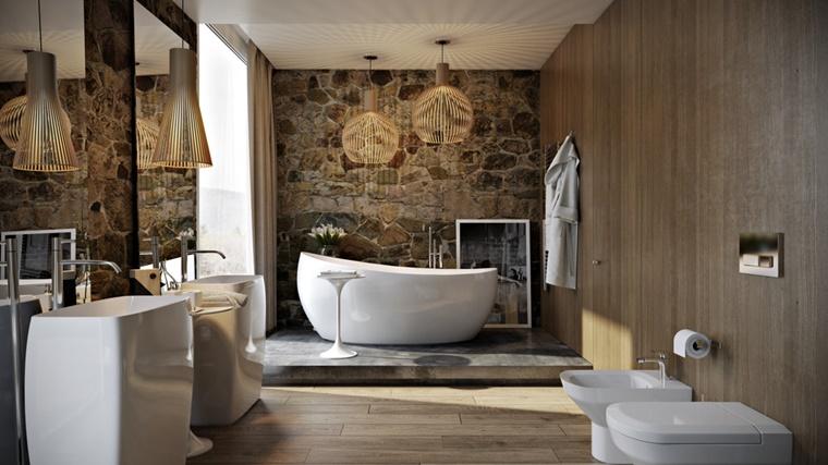 bagno rustico pietra legno sanitari moderni