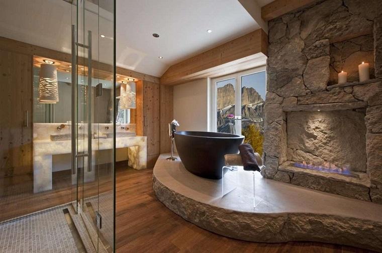 bagno rustico pietra pareti legno pavimento