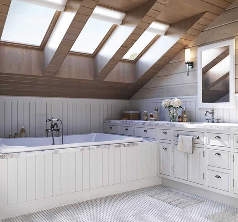 bagno rustico stile moderno mobili bianchi