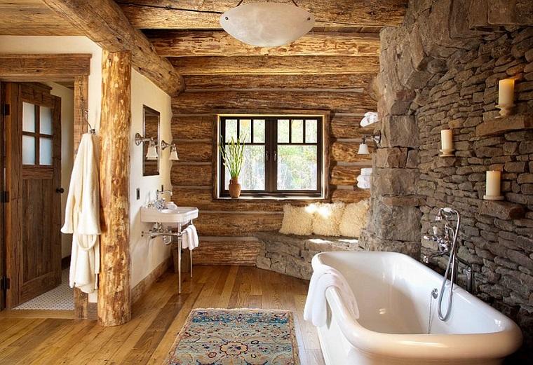 bagno rustico vasca bagno moderna parete pietra