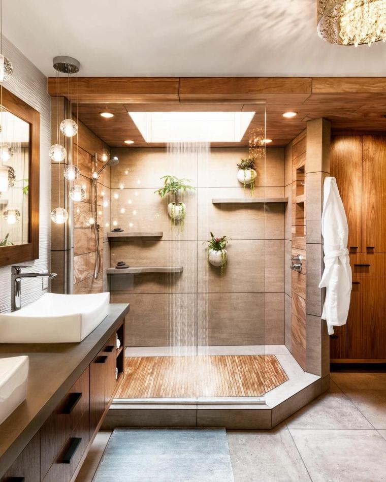 Piastrelle doccia effetto legno, lavabo da appoggio, pavimento in resina bagno