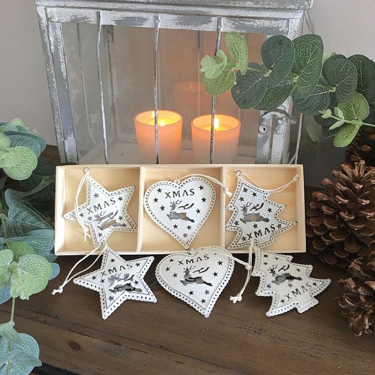 bianco Natale addobbi albero forme diverse
