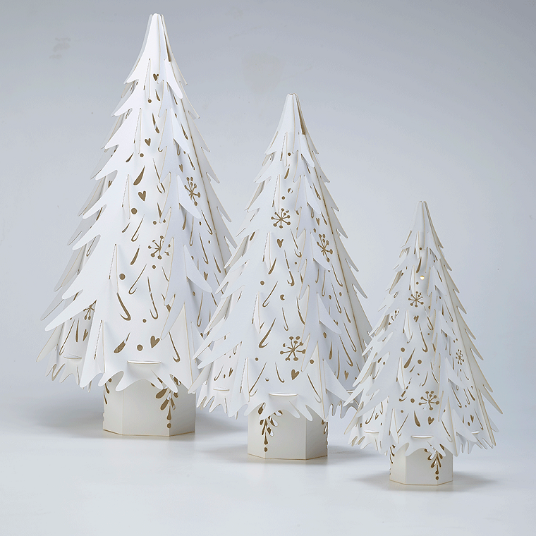 bianco Natale alberi diverse forme