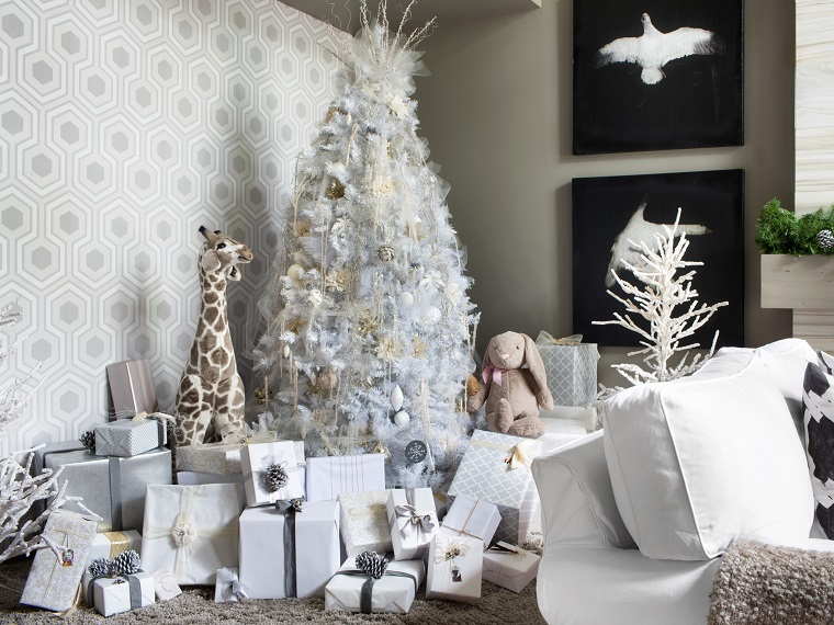 bianco Natale albero addobbi total white
