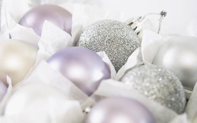 bianco Natale decorazioni bianche argento