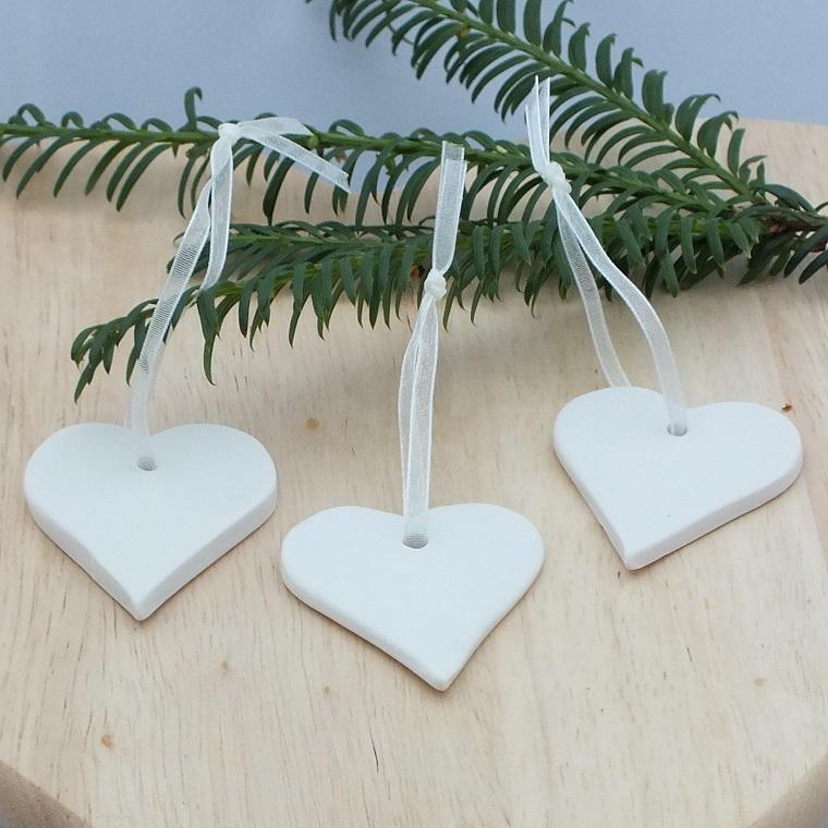 bianco Natale addobbi albero forma cuore